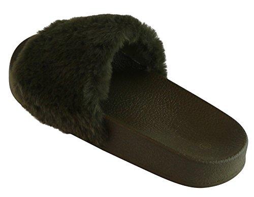 Cambridge Velg Et Dame Slip-on Pelsimitasjon Flat Plattform Tøffel Glide Sandal Oliven / Oliven