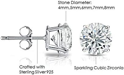 4mm-8mm Sterling Silver Gift Set of Cubic Zirconia CZ Stud Earrings Box of 5 Pairs with Carat Sizes