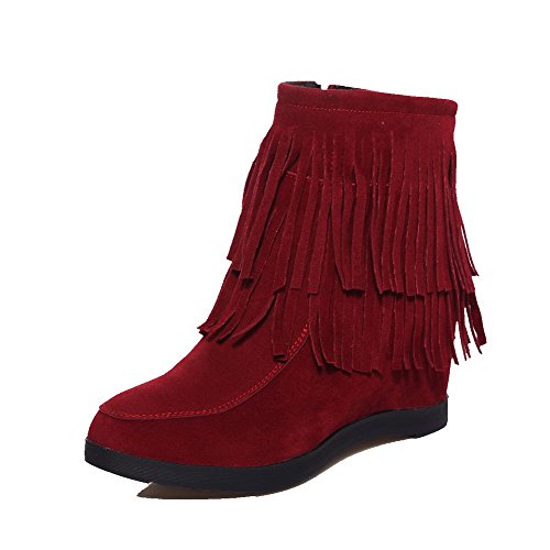 Low Frosted Claret top WeenFashion High Solid Women's Boots Closed Toe Round Heels qw5YwPH