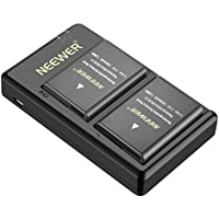 Neewer 2 Pieces 1050mAh EN-EL14 Replacement Li-ion Battery with USB Input Dual Charger for Nikon D3100 D3200 D3300 D3400 D5100 D5200 D5300 D5500 D5600 DF P7000 DSLR Camera, MB-D31 MB-D51 Battery Grips