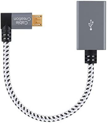 """6/"""" 15cm Short Right Angle Micro USB Type B to Micro USB B Host OTG Adapter Cable"""