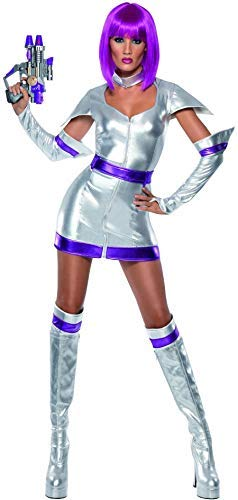 Ladies Fever Sexy Metallic Silver Purple Space Cadet TV Book Film Halloween Carnival Fancy Dress Costume Outfit UK 8-14 (UK 12-14)