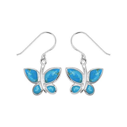 Sterling Silver Blue Turquoise Inlay (Boma Sterling Silver Blue Turquoise Inlay Butterfly Dangle Earrings)