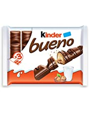 Kinder Bueno Milk Chocolate and Hazelnut Cream Candy Bar, 3 Packs, 2 Individually Wrapped Bars Per Pack, Christmas Candy Stocking Stuffers, 129 Grams
