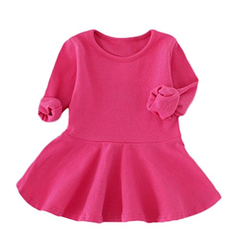 Vovotrade Adorable Cute Baby Girls Candy Color Princess Dress Long Sleeve Solid Casual Toddler Kids Dress (12M, Hot Pink)