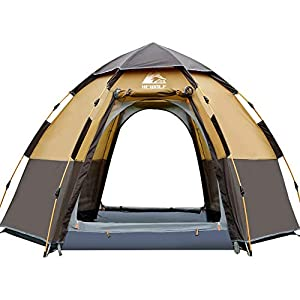 Hewolf Pop Up Tent for Mothers Day Gifts 3 to 4 Person Automatic Opening Hexangular Hydraulic Double Layer Tent – Ultra Large Waterproof Dome Tent with Porch Family Camping Tents with Carrying Bag