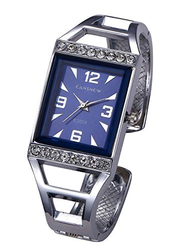 Top Plaza Womens Fashion Silver Analog Quartz Bangle Cuff Bracelet Watch Rectangle Case Arabic Numerals Rhinestones Dress Jewelry Wrist Watches 6.5 Inches #2 from Top Plaza