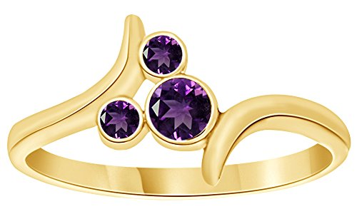 - AFFY Simulated Amethyst Mickey Mouse Bypass Ring in 14k Yellow Gold Over Sterling Silver Ring Size : 10.5