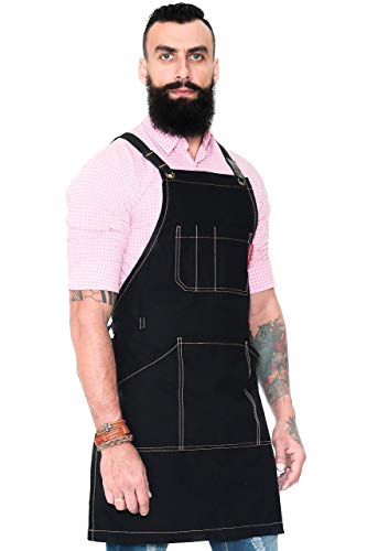 - Essential Deep Black Apron - Cross-Back with Durable Twill and Leather Reinforcement - Adjustable for Men and Women - Pro Chef, Tattoo Artist, Baker, Barista, Bartender, Server Aprons