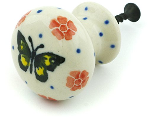 Polish Pottery Drawer Pull Knob 1-inch Yellow Butterfly Authentic Hand Painted Stoneware from Heart of Europe, Boleslawiec -