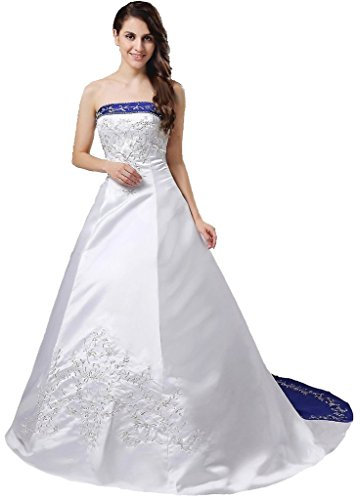 Snowskite Women's Strapless Satin Embroidery Wedding Dress Bridal Gown White 12
