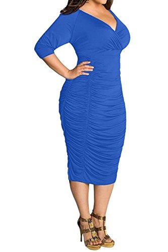 POSESHE Womens Plus Size Deep V Neck Wrap Ruched Waisted Bodycon Dress (XXXXL, Blue)