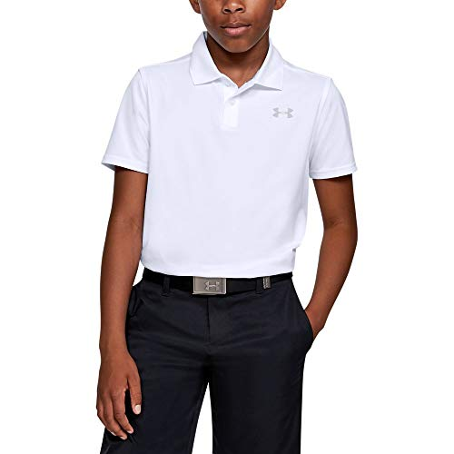 Under Armour boys Performance 2.0 Golf Polo, White (100)/Mod Gray, Youth Small (Under Armour For Kids)