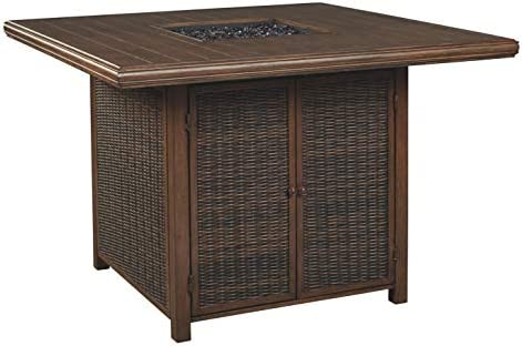 Signature Design by Ashley P750-665 Paradise Trail Square Bar Table w Fire Pit, Medium Brown