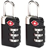 Lewis N Clark TSA23-2BLK Travel Sentry Combo Lock 2 Pack - Large 3 Dial - Black