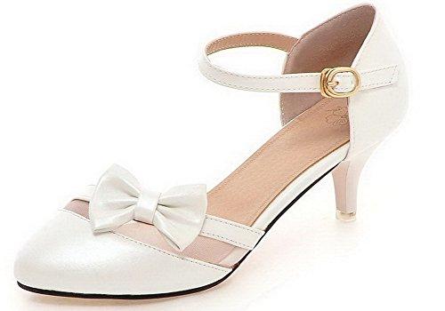 Pu Talon Couleur Femme À Blanc Boucle Chaussures Correct Unie Cuir Voguezone009 Légeres Rond n0mN8Oyvw
