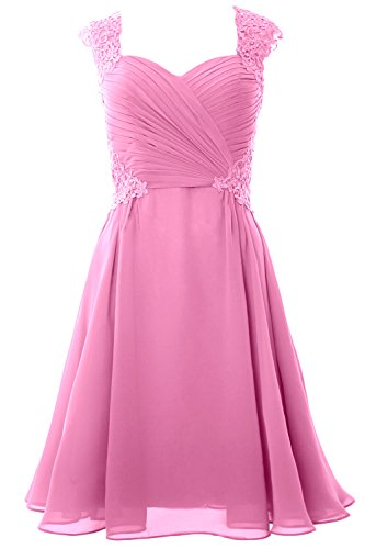 MACloth Women Cap Sleeve Cocktail Dress 2017 Short Wedding Party Formal Gown Rosa