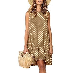 Mystry Zone Dresses for Women V Neck Ruffle Polka Dot Loose Swing Casual Short T-Shirt Dress
