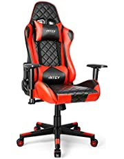 INTEY Gaming Chair Office Chair 360° Rotation and 160° Recline, Adjustable Armrest and Backrest Sufficient Sponge Filling Sturdy Iron Frame Structure Free Headrest and Cushion