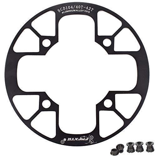 e Chainring Guard 104 BCD Aluminum Alloy Chain Ring Protector Cover for 32~34T 36~38T 40~42T Chainring Sprockets (Black, 36T~38T) ()