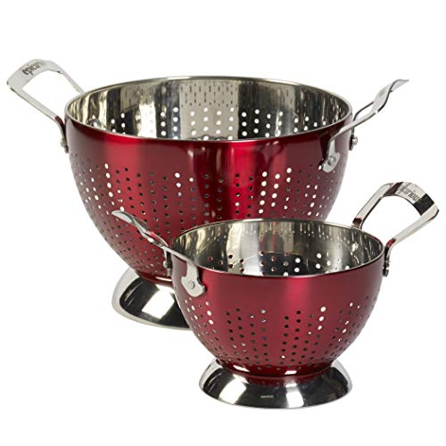 (Epicurious 2-Piece Stainless Steel Colander (Red))