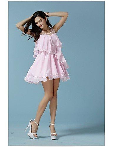 PU&PU Robe Aux femmes Swing Mignon,Couleur Pleine Col Arrondi Au dessus du genou Nylon , pink-l , pink-l