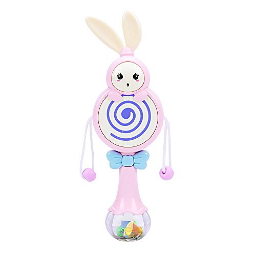 - WeiYun Early Educational Developmental Toy-Cartoon Rabbit Pellet Drum Baby Handheld Rattles Musicical Instrument Toy,Drum-Shaped ABS Rattle Toy Shake Bell Jingle for Baby/Infant/Newborn,1 Pcs (Pink)