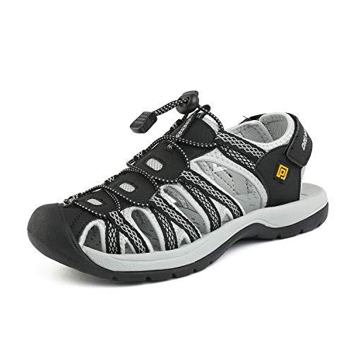 DREAM PAIRS Women's 160912-W-NEW Black Light Grey Yellow Adventurous Summer Outdoor Sandals Size 7.5 M US