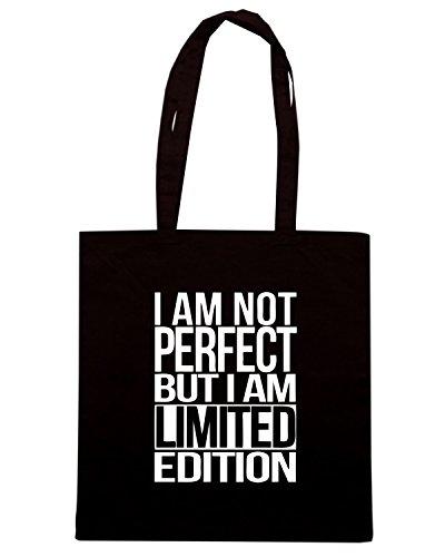 T-Shirtshock - Bolsa para la compra FUN0001 tee shirt i am not perfect but i am a limited edition Negro