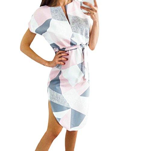 Coolred Neck Knee Belted Printing Dress Women Sleeves Design Pink Length V Short xgUxr