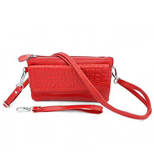 Dlames Women's Organizer Wallet Soft Leather Smartphone Zipper Clutch Purses Shoulder Crossbody Wrislet Bag (6.67 inch - Fits iphone 6S, Red) - Outside Cell Phone Pocket