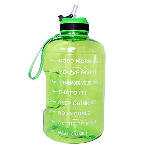 Small Reusable Water Bottles (QuiFit Gallon Water Bottle with Straw and Motivational Time Marker BPA Free Easy Sipping 128/73/43 oz Large Reusable Sport Water Jug for Fitness and Outdoor Enthusiasts (Grass Green,1)