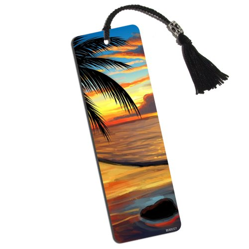 Ambient Beach Sunset Printed Bookmark with Tassel (Beach Rules Bookmark)