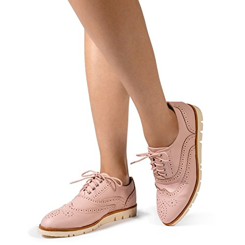 RF ROOM OF FASHION Women's Wing Tip Saddle Lace up Platform Oxford Flats - Trendy Flatform Shoes Pink (8.5) by RF ROOM OF FASHION (Image #5)