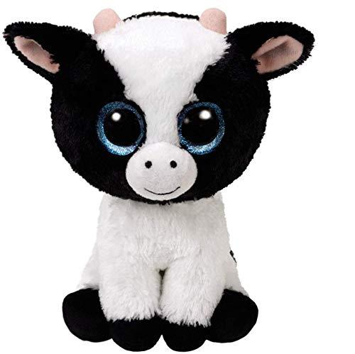 Ty Beanie Boo's 36841 Glitter Eye Pink Cow Butter Dish, 6-Inch, Black/White -