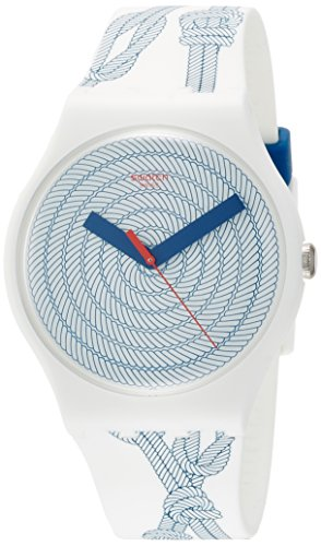 Swatch Cordage Two Tone Dial White Silicone Strap Men'S Watch Suow139