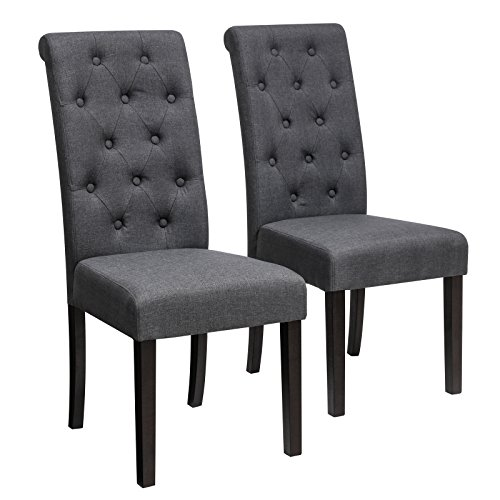 SONGMICS Fabric Upholstered Dining Chair, Set of 2, Button Tufted Parson Chair, Solid Wood Legs, Seat Height 18.5'', with High Backrest, Dark Gray ULDC26GY