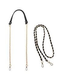 kilofly 2pc Gold Plated Faux Leather Removable Clutch Chain Shoulder Straps Set