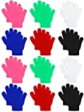 Coobey 12 Pairs Kids Warm Magic Gloves Teens Winter Stretchy Knit Gloves Boys Girls Knit Gloves (Boys 6 Color, 6-12 Years)
