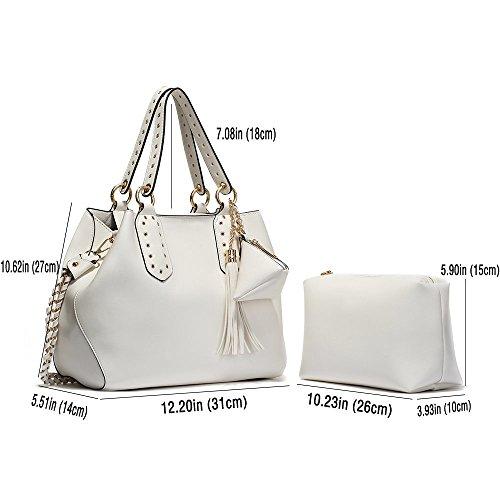 CASELAND Handtaschen Damen Schultertasche Umhängetaschen Tote Taschen Damen PU Leder Henkeltaschen for Frauen (L:31cm * H:27cm * W:14cm) Weiß