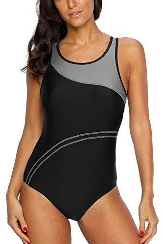 CharmLeaks Women's Super Pro Swimweaer Sporty Training Racing Bathing Suit Color Block Gray new X Large
