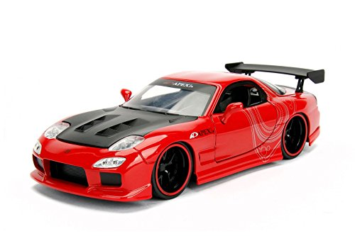 Rx Mazda Red Car 7 - 1993 Mazda RX-7 Red with Black Hood JDM Tuners 1/24 Diecast Model Car by Jada 98677