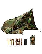 Free Soldier Camping Tarp 3 m x 3,2 m regenhoes, draagbaar, licht, waterdicht, winddicht, tent, waterdicht op de grond, UV-bescherming, voor wandelen