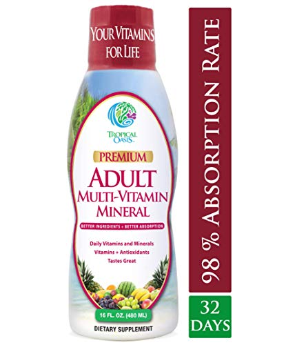 Tropical Oasis Adult Liquid Multivitamin -Liquid Multi-Vitamin and Mineral Supplement with 125 Total Nutrients Including; 85 Vitamins & Minerals, 23 Amino Acids, and 18 Herbs – 16 fl oz, 32 serv Review