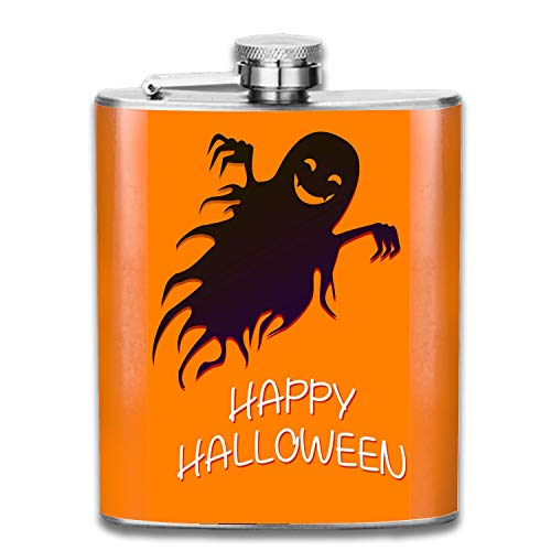 Flying Funny Ghost Happy Crazy Halloween Liquor Hip flask Stainless Steel Shot flasks Leak Proof Cool Gift For Men 7oz -