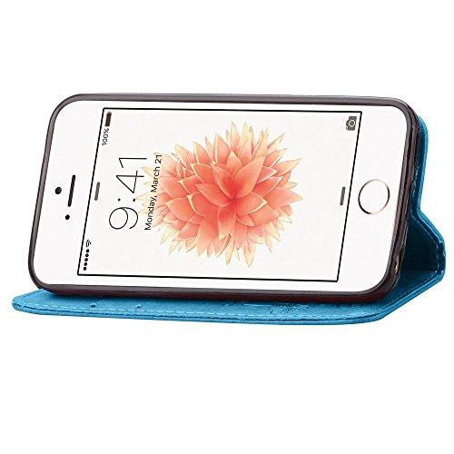 Voguecase® Pour Iphone SE Coque, Etui Housse Cuir Portefeuille Case Cover (Trèfle à quatre feuilles-Bleu)de Gratuit stylet l'écran aléatoire universelle