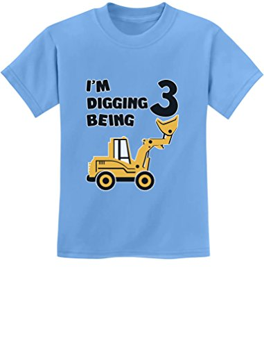 3rd Birthday Bulldozer Construction Party 3 Year Old Boy Toddler Kids T-Shirt X-Small California Blue