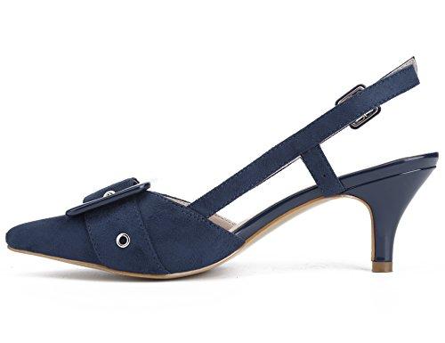 Mujer Hebilla Tacón Con Pu Azul Decorada De Maxmuxun Zapatos 6YwqU6P