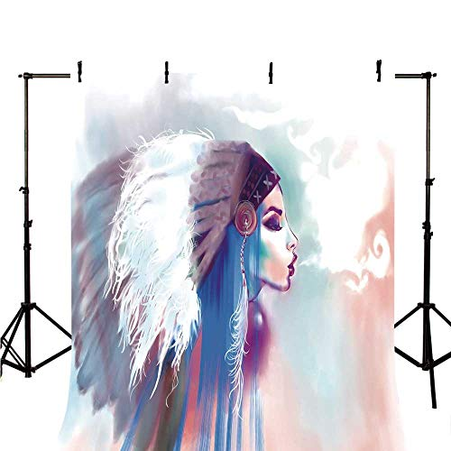Native American Stylish Backdrop,Girl Smoking Pipe with Traditional Clothes Abstract Watercolor Background Decorative for Photography,39.3