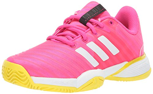 adidas Unisex Barricade 2018 Xj Running Shoe, Pink/White/Shock Yellow, 2 M US Big Kid